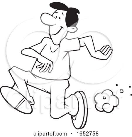 Cartoon Black and White Man Running by Johnny Sajem