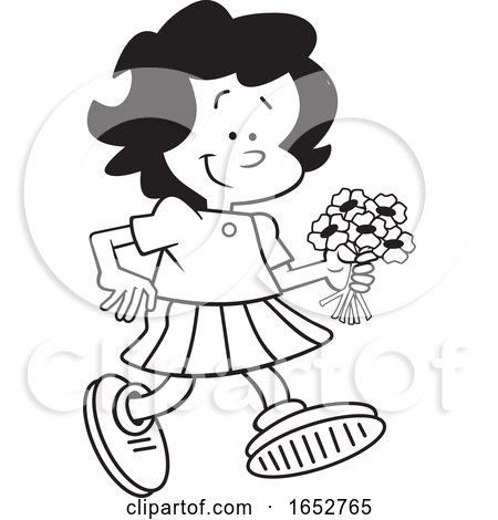 Cartoon Black and White Girl Walking with Flowers by Johnny Sajem