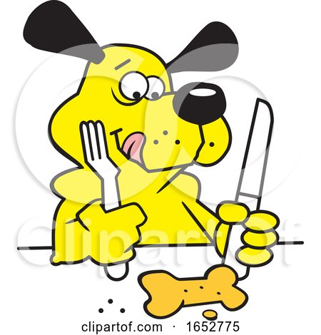 Cartoon Dog Ready to Eat a Biscuit with Cutlery by Johnny Sajem
