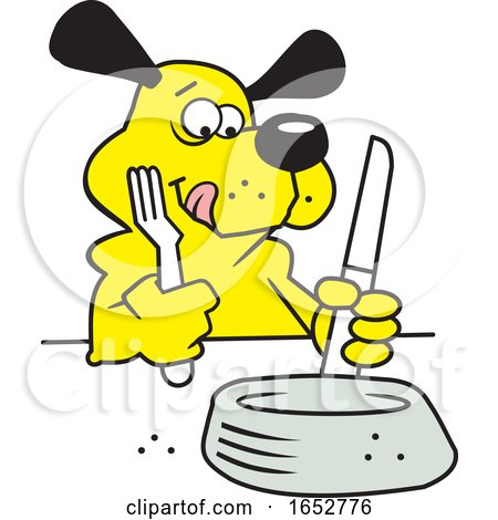Cartoon Hungry Dog Ready to Eat by Johnny Sajem
