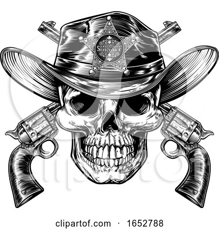 Skull in Cowboy Sheriff Hat with Pistols by AtStockIllustration