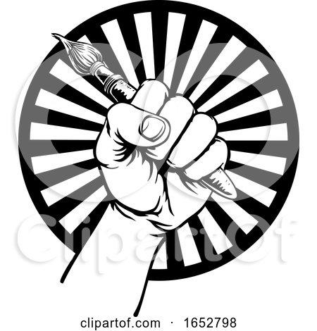 Hand Holding Artists Paintbrush by AtStockIllustration