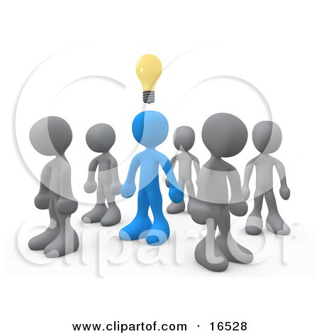 One Blue Person In A Group Of Gray People, Thinking Up A Creative Idea, With A Lightbulb Over His Head  Posters, Art Prints