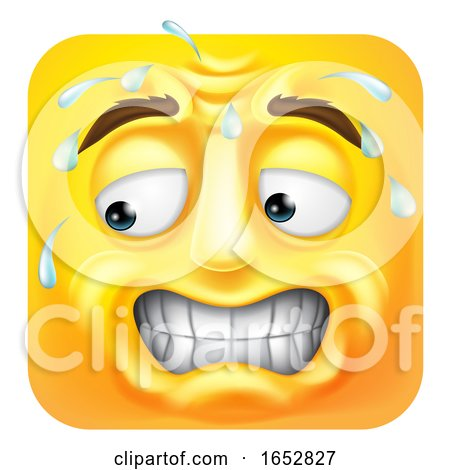 Sweating Worried Emoji Emoticon Icon Cartoon by AtStockIllustration