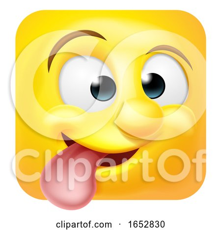 Funny Cheeky Emoji Emoticon Icon Cartoon Character by AtStockIllustration
