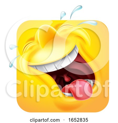Laughing Emoji Emoticon Icon 3D Cartoon Character by AtStockIllustration