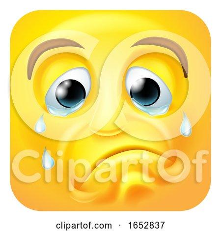 Sad Crying Emoji Emoticon Icon Cartoon Character by AtStockIllustration