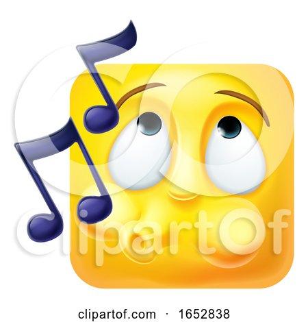 Whistling Emoji Emoticon Icon 3D Cartoon Character by AtStockIllustration