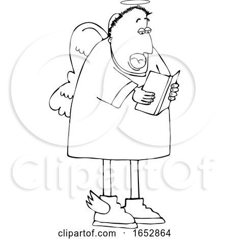Cartoon Black and White Male Angel Singing by djart