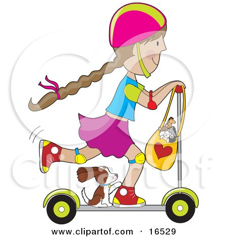 Happy Little Brunette Girl Riding on a Kick Scooter With Her Puppy and Purse Full of Stuffed Animal Toys Clipart Illustration Graphic by Maria Bell