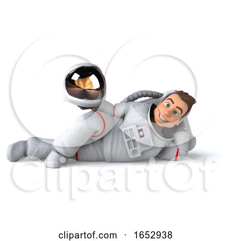 3d Cosmonaut, on a White Background by Julos