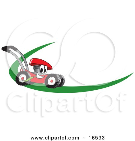 Clipart Picture of a Red Lawn Mower Mascot Cartoon Character on a Logo or Nametag With a Green Dash by Toons4Biz