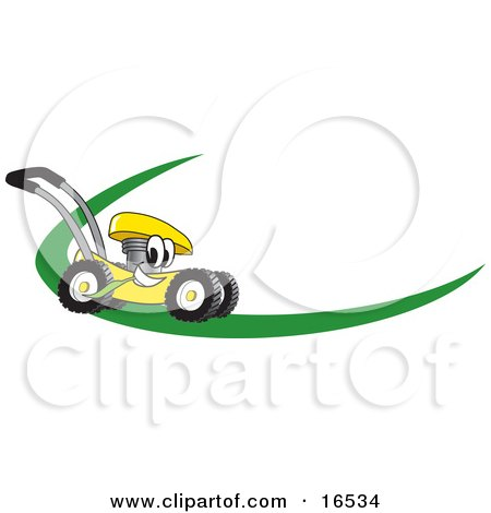 Yellow Lawn Mower Mascot Cartoon Character on a Logo or Nametag With a Green Dash Posters, Art Prints