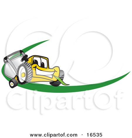 Clipart Picture of a Yellow Lawn Mower Mascot Cartoon Character Facing Front on a Logo or Nametag With a Green Dash by Toons4Biz