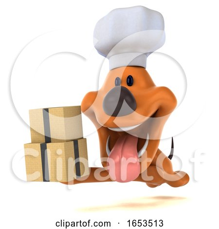 3d Puppy Dog Chef, on a White Background Posters, Art Prints