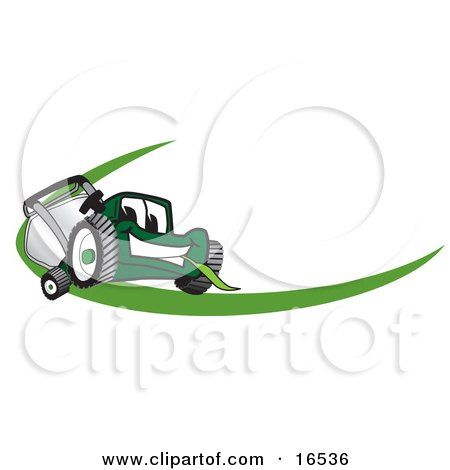 Clipart Picture of a Green Lawn Mower Mascot Cartoon Character Facing Front on a Logo or Nametag With a Green Dash by Toons4Biz
