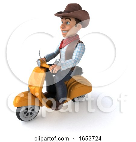 3d Western Cowboy, on a White Background by Julos