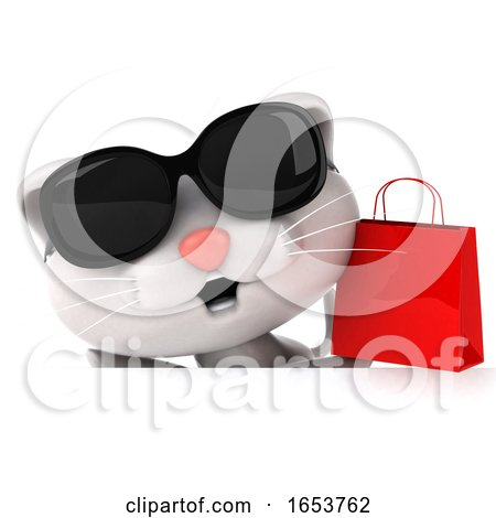 3d White Cat, on a White Background by Julos