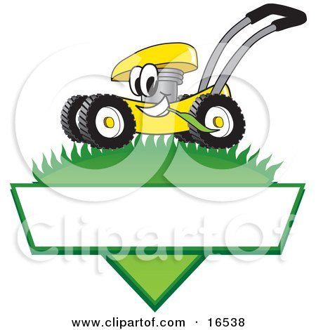 Clipart Picture of a Yellow Lawn Mower Mascot Cartoon Character Mowing Grass Over a Blank White Label by Toons4Biz