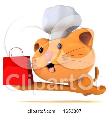 3d Chef Ginger Cat, on a White Background by Julos