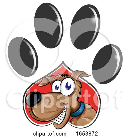 Cartoon Dog Emerging from a Paw Print by Domenico Condello