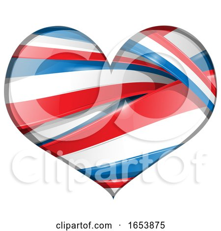 Heart Made of French Flag Ribbon Banners by Domenico Condello