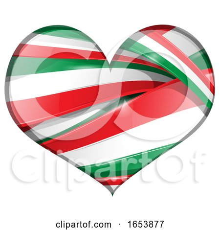 Heart Made of Italian Flag Ribbon Banners by Domenico Condello