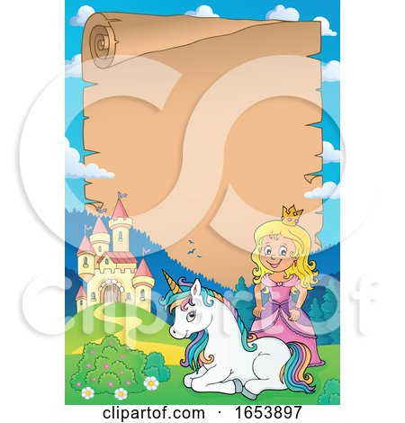 Fairy Tale Princess and Unicorn Border by visekart