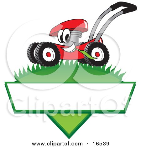 Clipart Picture of a Red Lawn Mower Mascot Cartoon Character Mowing Grass Over a Blank White Label by Toons4Biz