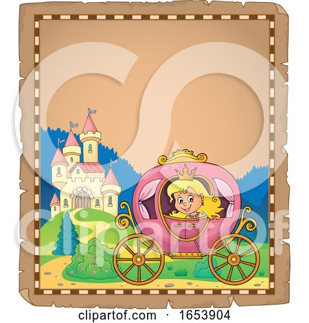 Border of a Fairy Tale Princess in a Carriage near a Castle by visekart
