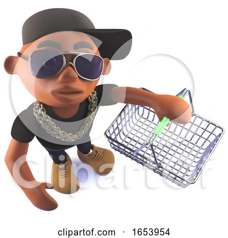 Cartoon 3d Black African Hiphop Rapper Holding an Empty Shopping Basket by Steve Young