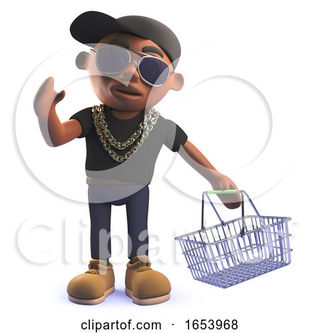 3d Cartoon African American Hiphop Rapper in 3d Holding a Shopping Basket by Steve Young
