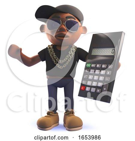 3d Cartoon Black African American Hipop Rap Artist Holding a Digital Calculator by Steve Young