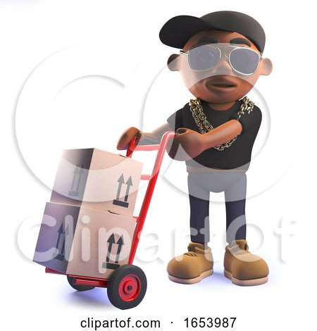 Cartoon 3d Black African American Hip Hop Rap Artist with Trolley and Parcels by Steve Young