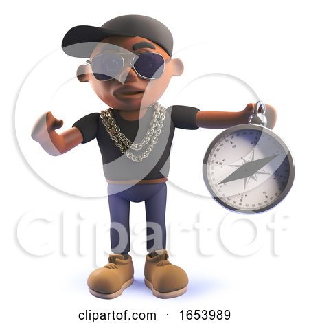 Black African American Cartoon 3d Hip Hop Rap Artist with Magnetic Compass by Steve Young