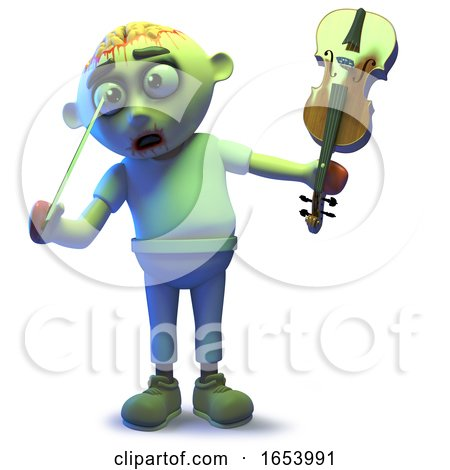 Stupid Undead Zombie Monster Pokes His Eye with a Violin Bow by Steve Young
