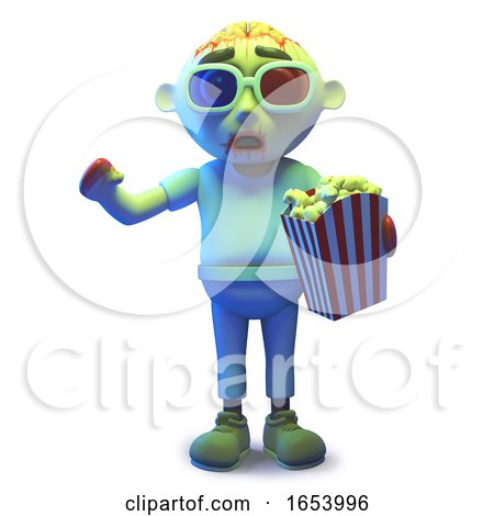 Scary Undead Zombie Monste Wearing 3d Glasses and Eating Popcorn by Steve Young