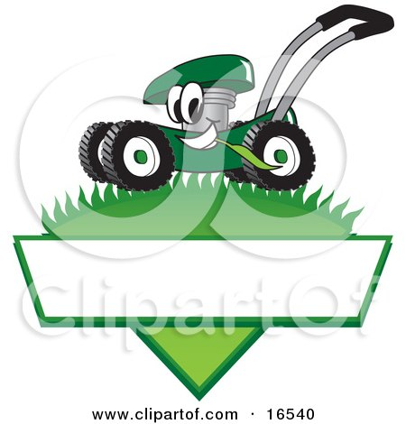 Green Lawn Mower Mascot Cartoon Character Mowing Grass Over a Blank White Label Posters, Art Prints