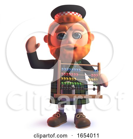 Scots Man Character in 3d Holding an Abacus by Steve Young