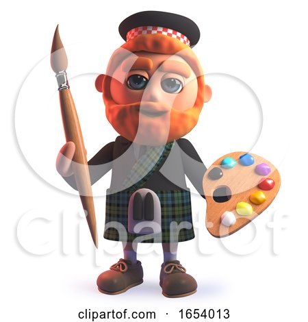 3d Scots Man in Kilt Holding a Paint Brush and Palette by Steve Young