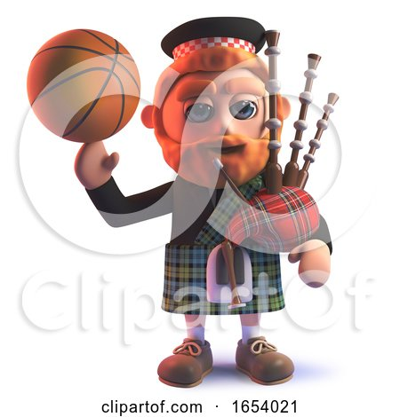 3d Scots Man Wearing Kilt and Balancing a Basketball on His Finger by Steve Young