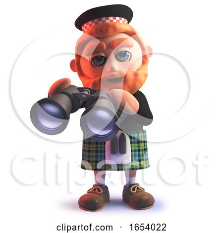 Scots Man Wearing a Kilt and Holding a Pair of Binoculars in 3d by Steve Young