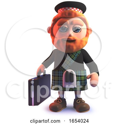 Scottish Man in 3d Wearing a Kilt and Carrying a Briefcase by Steve Young