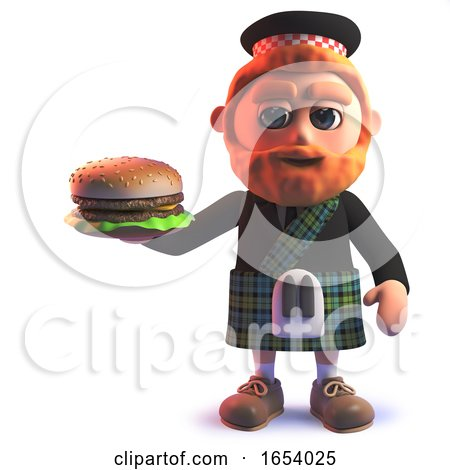 3d Scottish Man in Kilt Eating a Cheese Burger by Steve Young