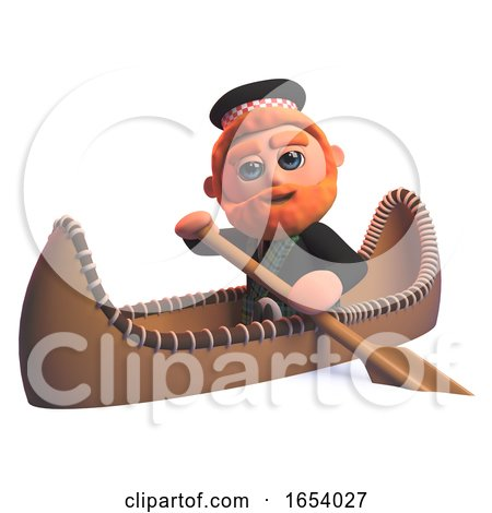 Funny 3d Scottish Man in Kilt Rowing a Kayak Canoe by Steve Young