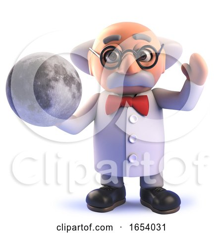 Mad Scientist Cartoon in 3d Holding a Model of the Moon by Steve Young