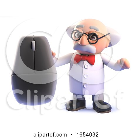 3d Cartoon Mad Scientist Professor Character Holding a Computer Mouse by Steve Young