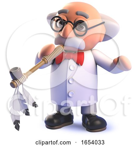 Mad Scientist Professor Character Smoking an American Peace Pipe by Steve Young