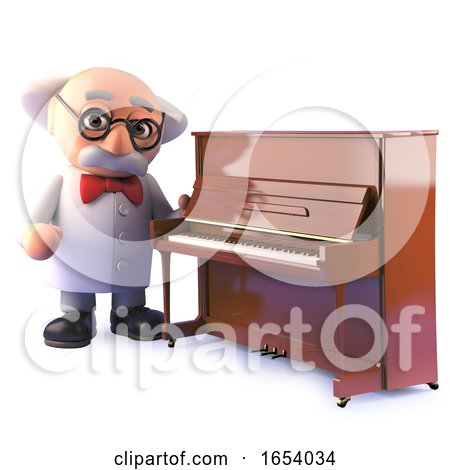 3d Cartoon Mad Scientist Character Standing by an Upright Piano by Steve Young