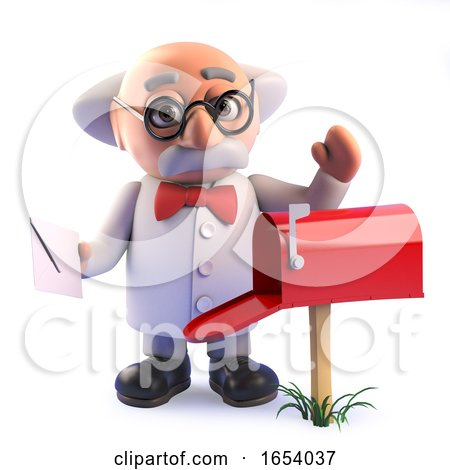 3d Crazy Mad Professor Scientist Takes Mail from His Mail Box by Steve Young